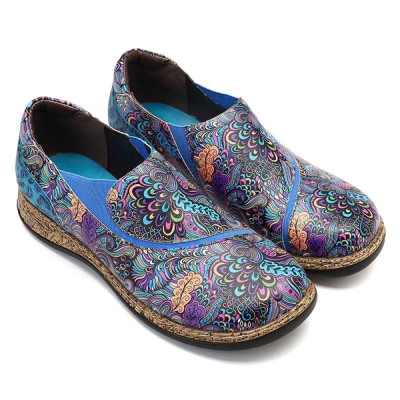 Intricate Floral Printed Leather Slip On Flats