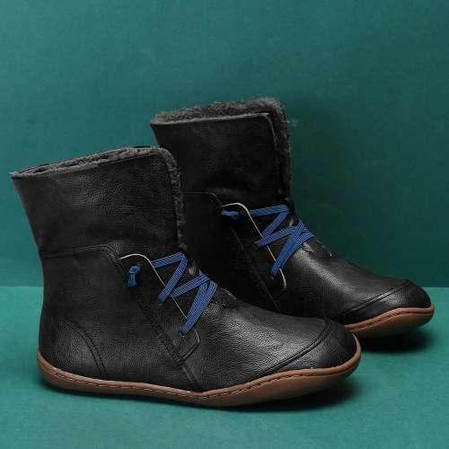 Solid Color Warm Elastic Band Mid Calf Winter Snow Boots