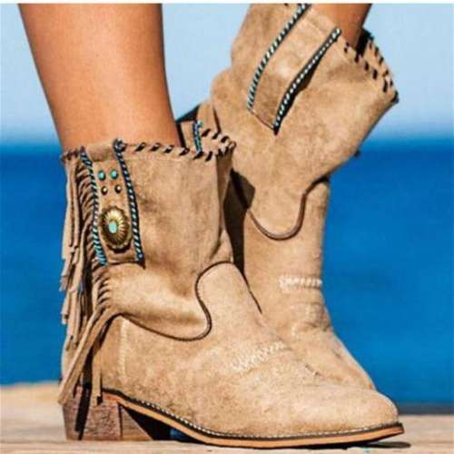 Fashion New Low-heeled Fringed Low-top Women's Boots