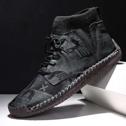 Men Hand Stitching Leather Non Slip Elastic Panels Soft Sole Casual Boots
