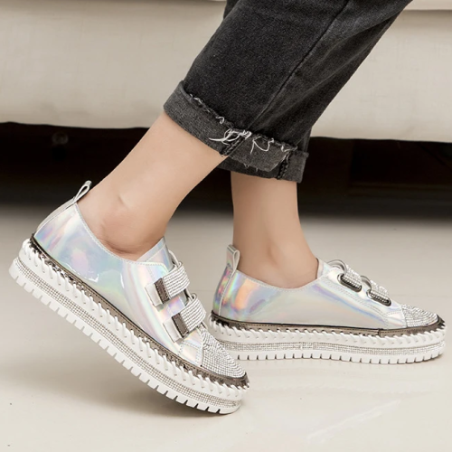 Women Rhinestone Casual Daily Magic Tape Loafers