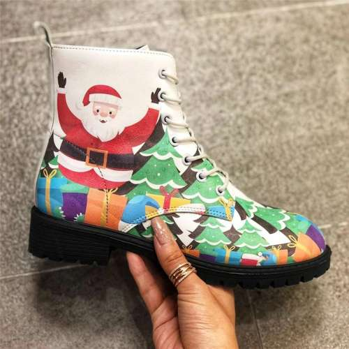 >>Christmas Gift |Women's PU Low Heel Boots With Lace-up Floral