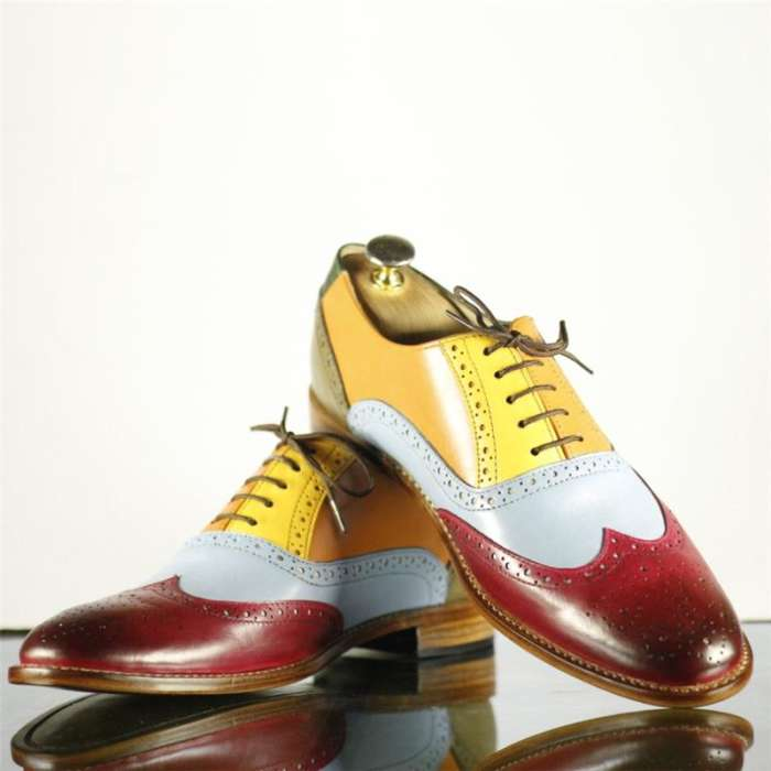New Handmade Men's Multi Color Leather Wing Tip Brogue Lace Up Shoes