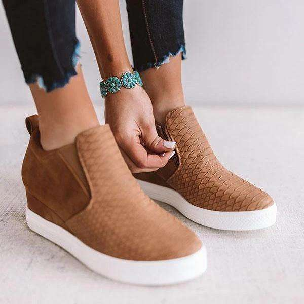 Women Fashion Wedge Sneakers Solid Color Comfortable Shoes