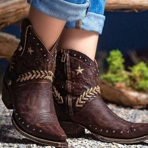 Women Star Embroidered Ankle Boots Cowgirl Boots