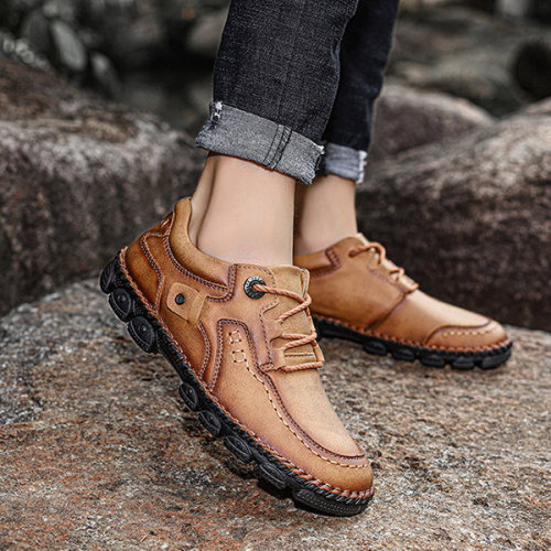 Men's Lace-up Flat Casual Fashion Vintage Genuine Shoes