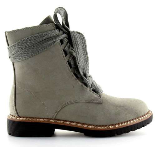 *Womens Daily Chunky Heel Lace-Up Combat Sneakers Boots