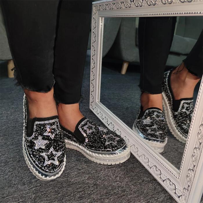 Women Chic Shining Star Rhinestone Slip-on Loafers