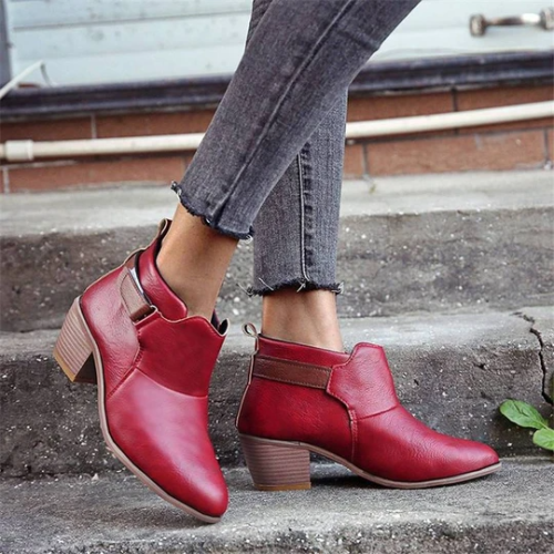 Women's Elegant Velcro Mixed Colors Chunky Heel Boots