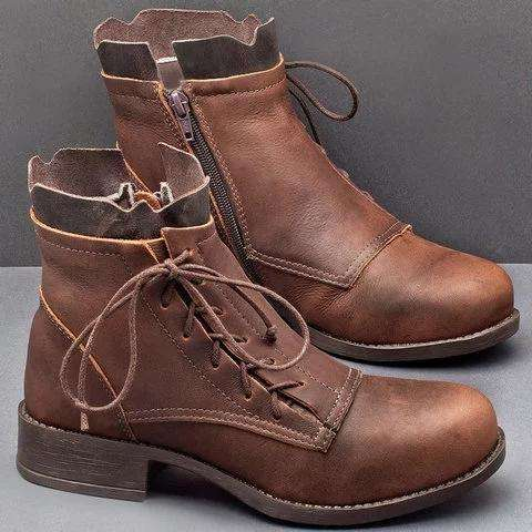 Pu Lace-Up Low Heel Boots Fashion Ankle Shoes