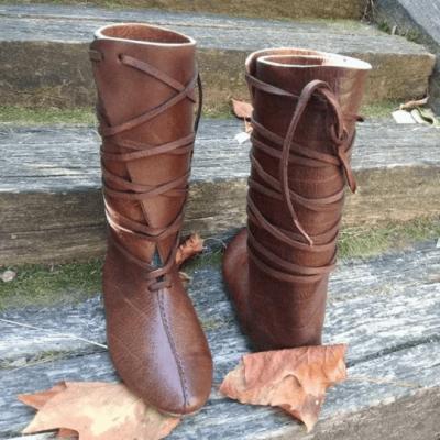 Men's Retro Stitching Design Lace-up Boots