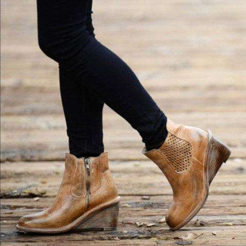 *Women Vintage Wedge Boots Casual Chic Zipper Boots