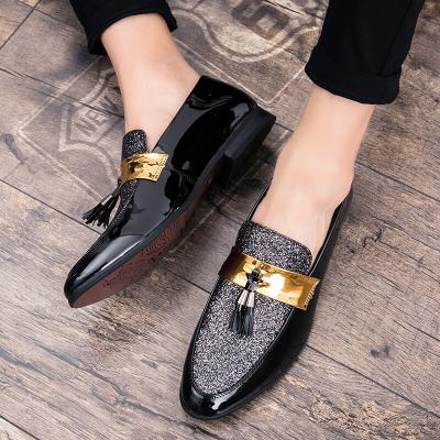 Slip-On Fringe Metallic Sequin Ointed Toe Men's Prom Shoes