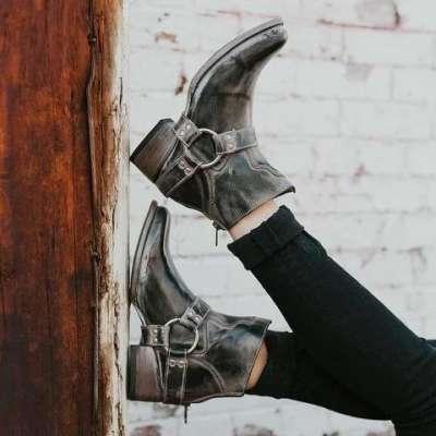*Women Fashion PU Western Booties Casual Zipper Low Heel Ankle Boots