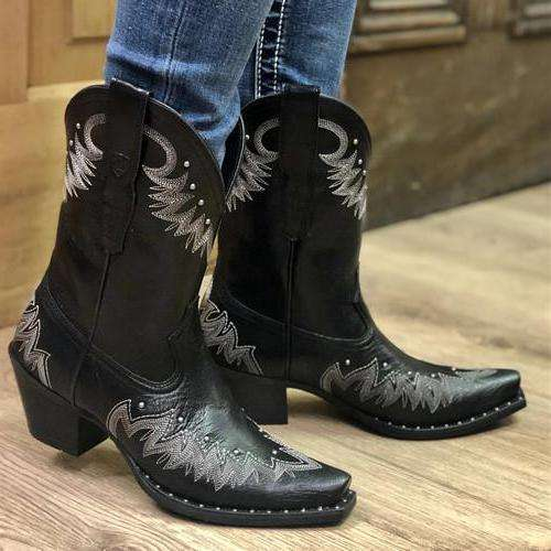 Ankle Booties Slip-on Women Cowboy Boots