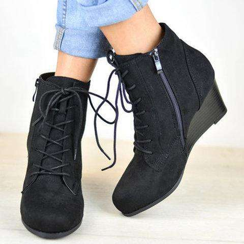 Lace-Up Stacked Wedge Booties Comfort Ankle Boots With Zipper