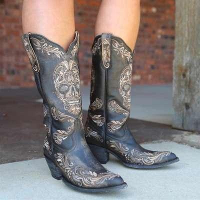 Black Vintage Low Heel Boots
