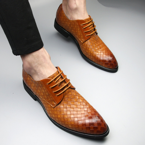 Plaid Lace-Up Pointed Toe Men's Dress Shoes