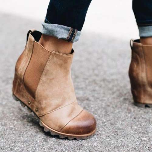 Women Winter Slip On Wedge Boots