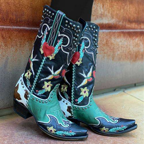 Low Heel Pointed Toe Boots