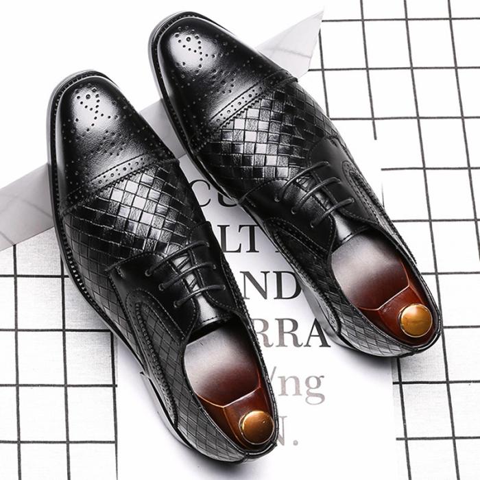 Low-Cut Upper Square Toe Engraved Flower Men's Dress Shoes