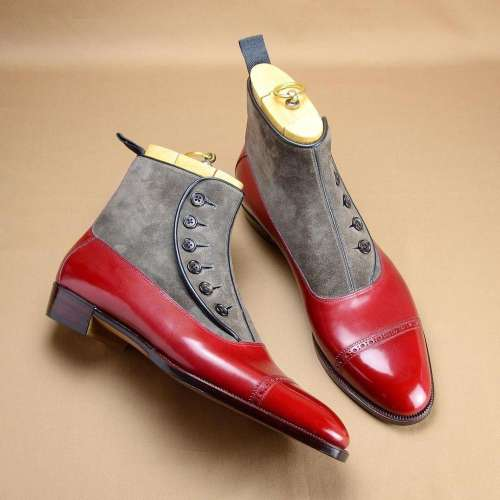 Handmade Leather Mix Suede Button Red Boots