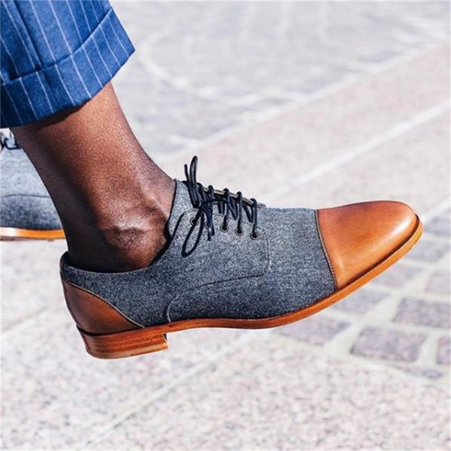 Men's retro fashion color matching Lace up Pointed casual shoes