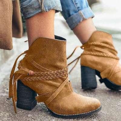 Women Trendy Tassel Braided Strap Irregular Design Slip On Chunky Heel Boots