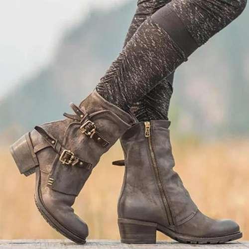 Women Vintage Buckle Boots Side Zipper Boots