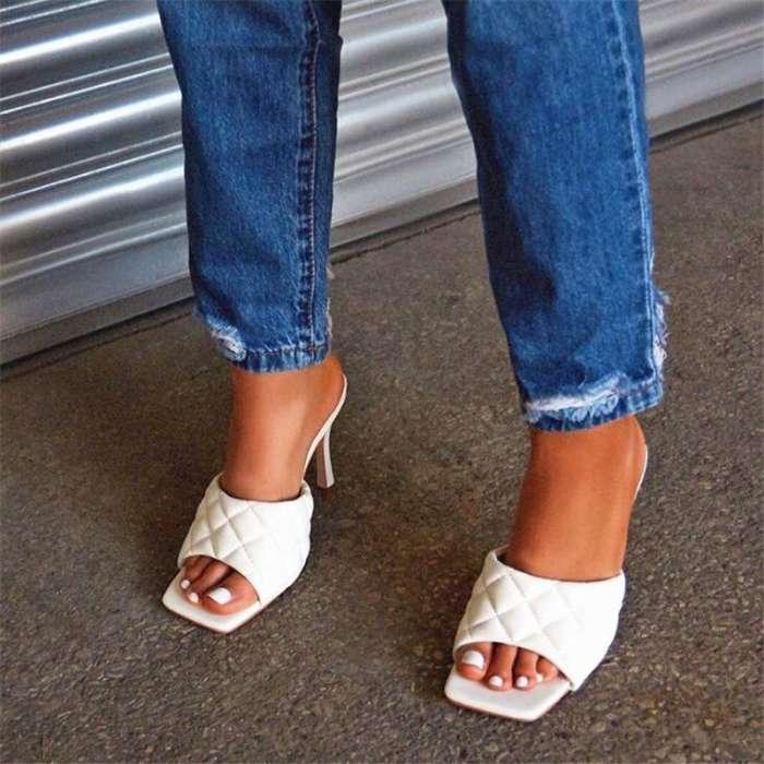 PU Leather Superstar Mules Sandals