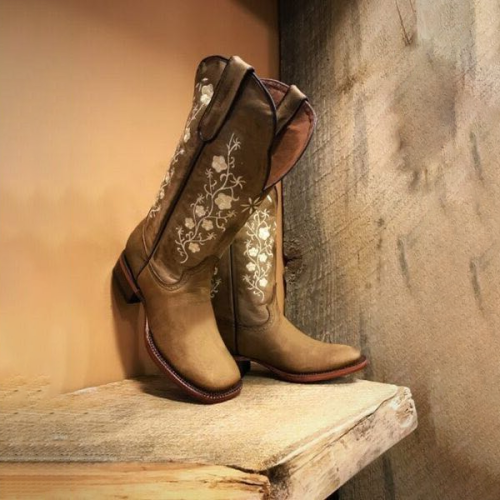 Block Heel Color Block Square Toe Slip-On Casual Boots