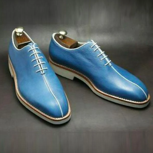 Vintage Blue Handmade Brogue Formal Shoes