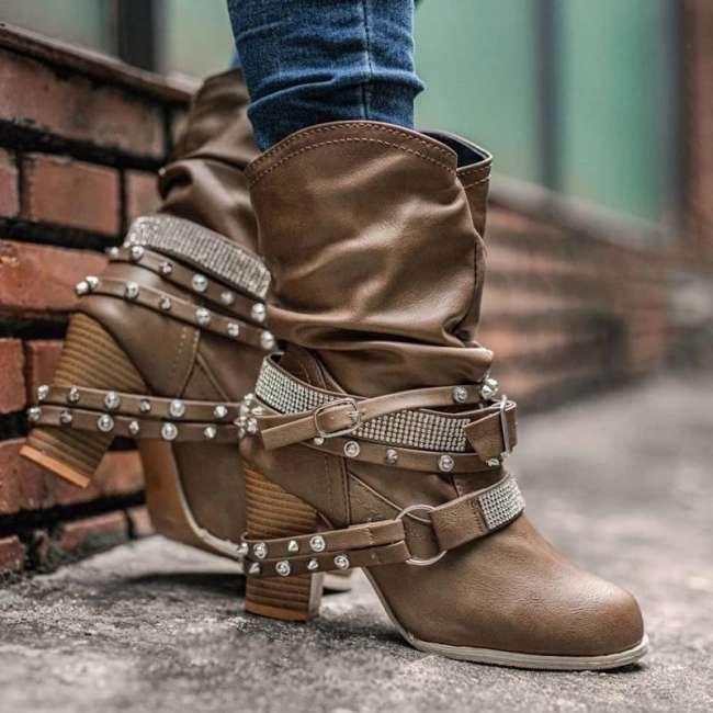 Women Fashion Rhinestone Rivet Kitten Heel Slip On Wide Calf Mid-calf Boots