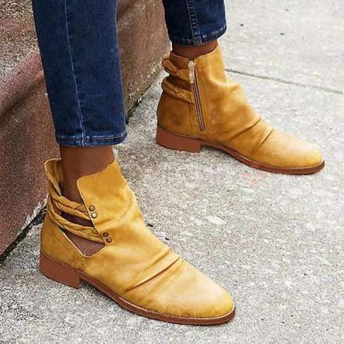 Women's Chunky Heel Low Boots