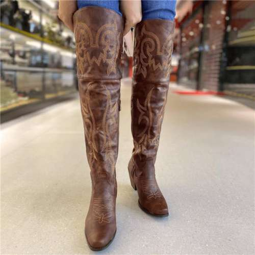 Comfortable Low Heel High-tube Rider Boots