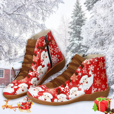 >>Christmas Gift  Women Plus Size Vintage Comfy Lace-up Boots Flat Heel Shoes
