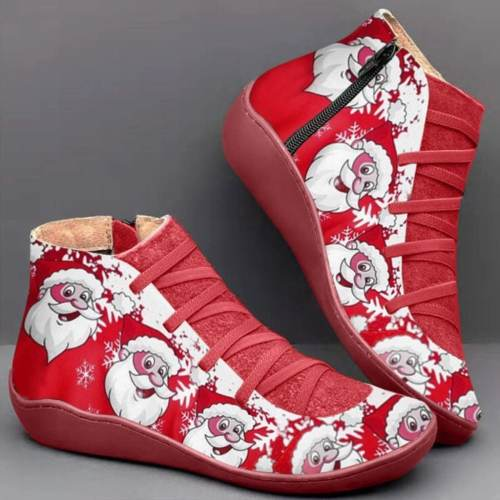 >>Christmas Gift | Casual  Printed  Flat Martin Boots
