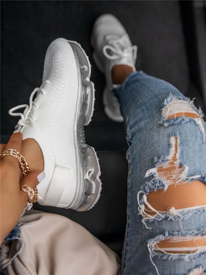 Lace-Up Lace-Up Round Toe Plain Sneakers