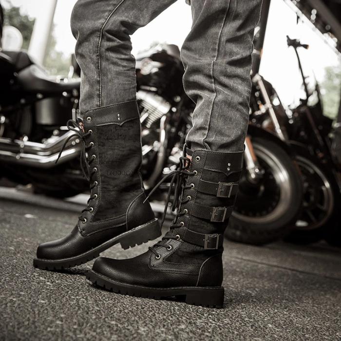 Vintage Buckle Mid-tube Military Boots