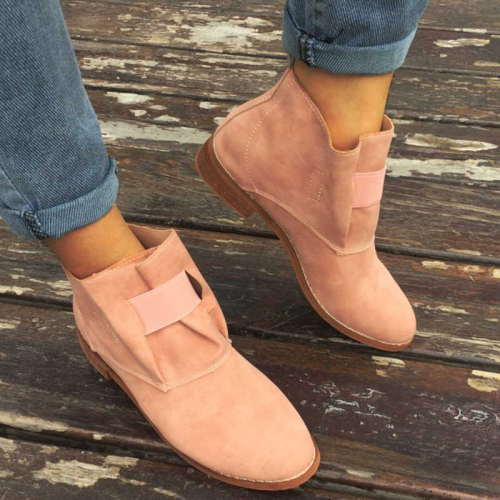Women Retro Snakerskin Animal Pattern Slip On Low Heel Boots