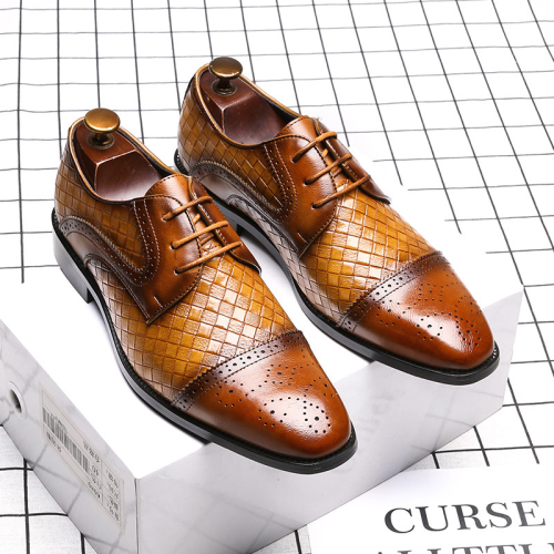 Low-Cut Upper Square Toe Engraved Flower Men's Dress Shoes