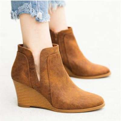 Plain Velvet Round Toe Casual Outdoor Boots