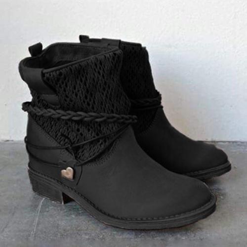 Fashion Women Winter Spring Flat Heel Flip Ankle Boots