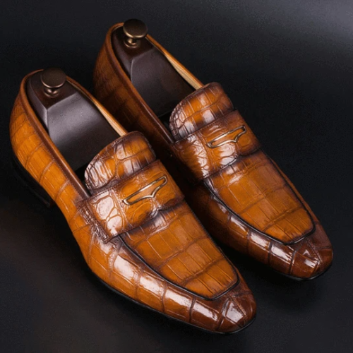 Men's Stone Pattern Retro Temperament Business Leather Shoes