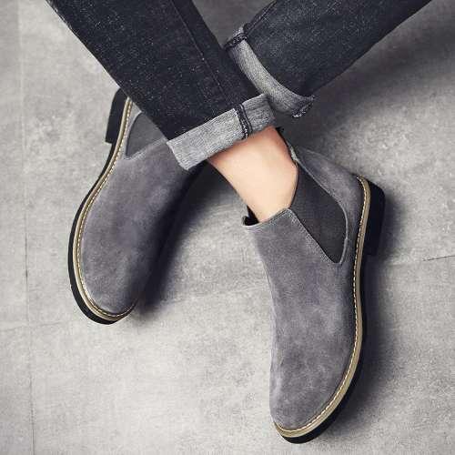 Men Suede Elastic Band Slip On Soft Slip Resistant Chelsea Boots