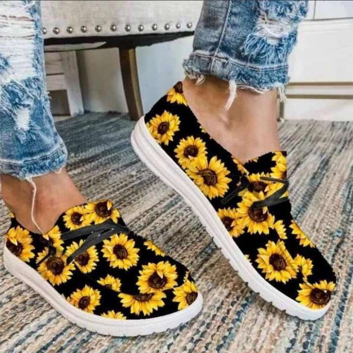 Sunflower&Rainbow  Printed Casual Loafers