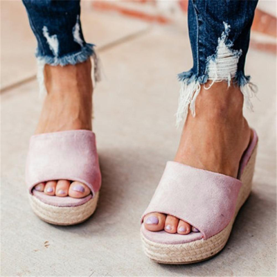 Fashion Versatile Woven Platform Wedge Slippers