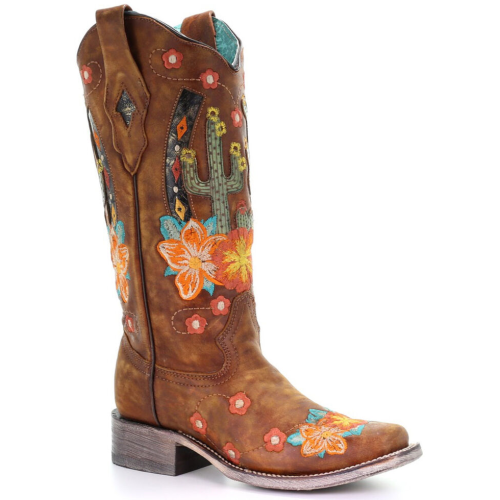 Flower Printed Chunky Heel Boots
