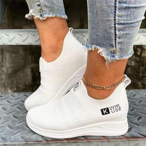 Flat Heel Fabric Sneakers