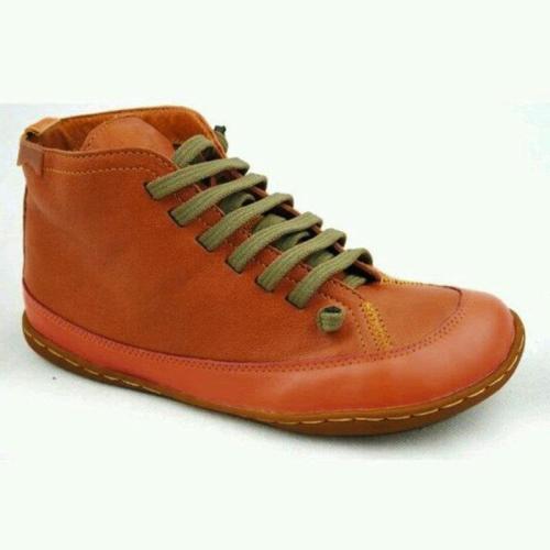 Orange Flat Heel Winter Leather Flats